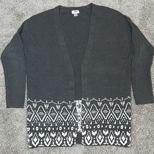 🔥 Old Navy Tribal Print Open Front Gray Cardigan